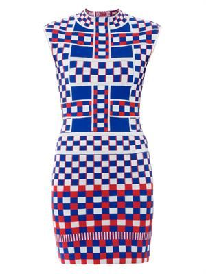 Graphic jacquard-knit dress