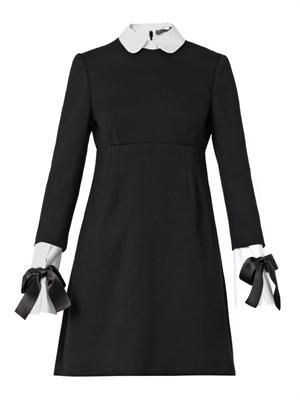 Collar and cuff-trimmed dress