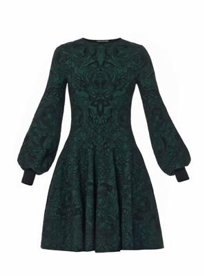 3D floral-jacquard stretch-knit dress