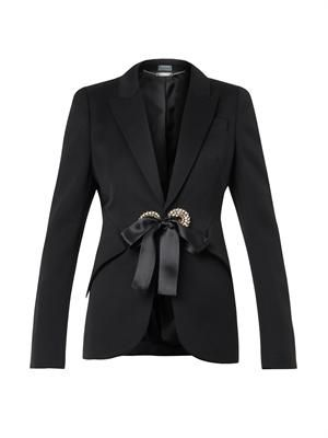 Crystal-eyelet tailored jacket