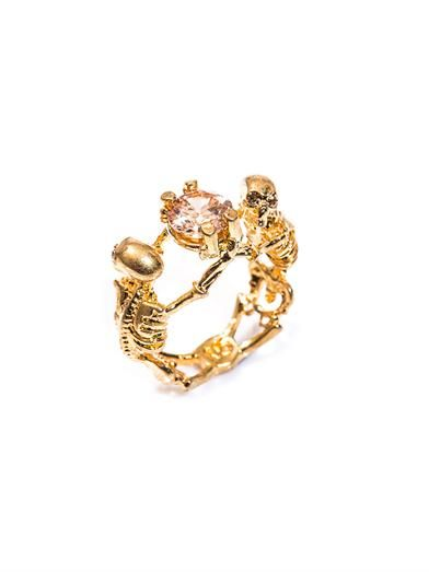 Alexander McQueen Double skeleton topaz and gold-tone ring