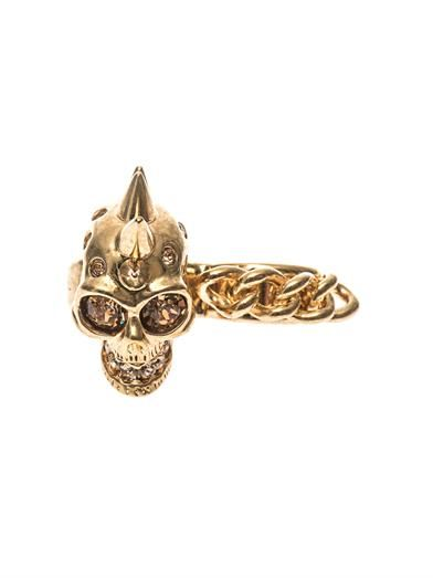 Alexander McQueen Skull and chain double ring
