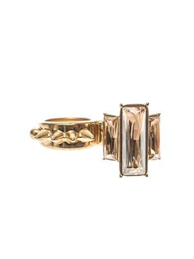 Alexander McQueen Crystal and knuckle-stud double ring
