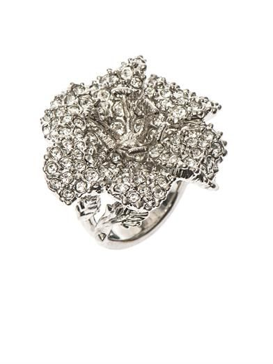 Alexander McQueen Crystal-embellished flower ring