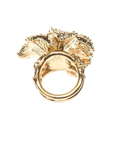 Alexander McQueen Crystal-embellished flower ring