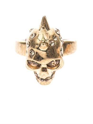 Alexander McQueen Crystal-embellished skull ring