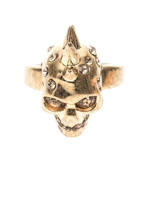 Crystal-embellished skull ring
