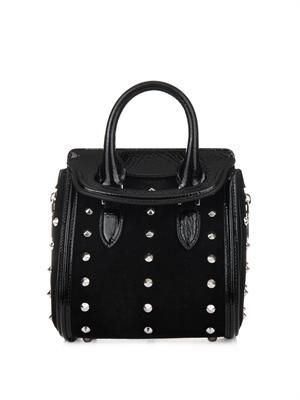 Heroine mini studded suede tote