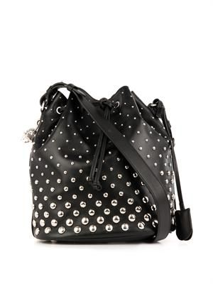 Padlock studded leather bucket bag