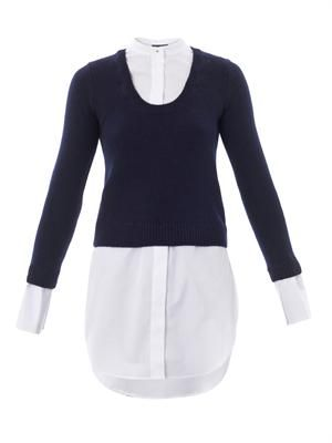 Cashmere-wool sweater with detachable shirt