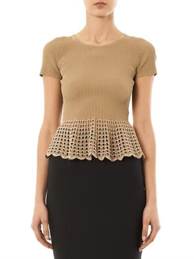 Alexander McQueen Ribbed-knit peplum top