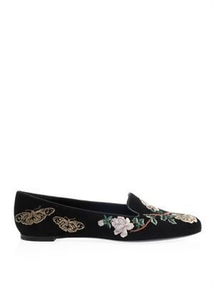 Floral embroidered suede slippers