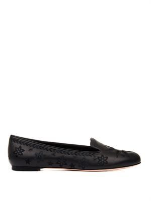 Star and moon embroidered leather flats
