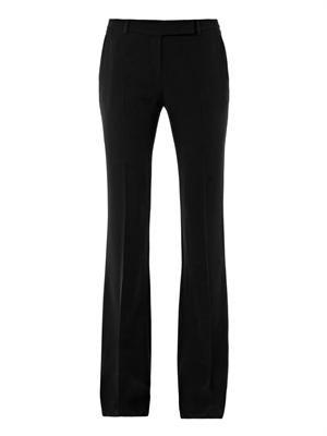 Boot-cut crepe trousers