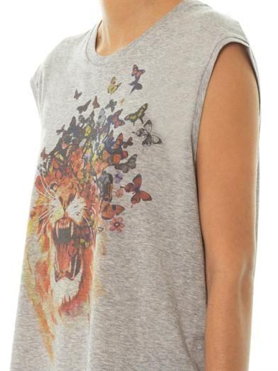 Alexander McQueen Butterfly roar-print tank