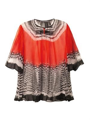 Feather-print silk top