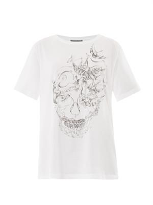 Swallow skull-print T-shirt