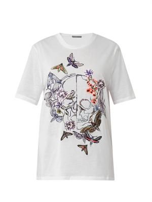 Floral embroidered skull T-shirt