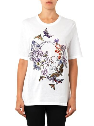 Alexander McQueen Floral embroidered skull T-shirt