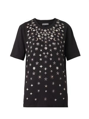 Moon and star-embroidered T-shirt