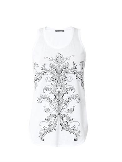 Alexander McQueen Thistle-embroidered cotton tank