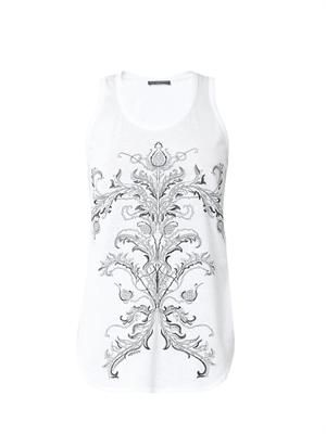 Thistle-embroidered cotton tank