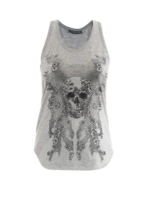 Honeycomb lace skull-print tank top