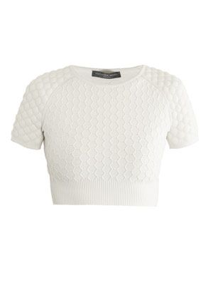 Honeycomb knit cropped sweater