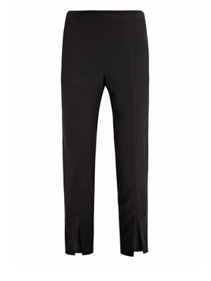 Leaf crepe slit-hem trousers