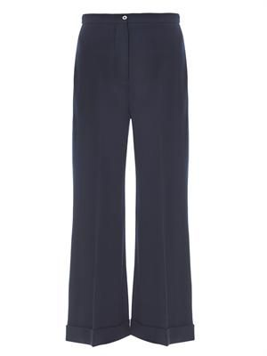 Crepe boot-cut tailored trousers