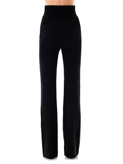 Alexander McQueen High-waisted bootcut crepe trousers