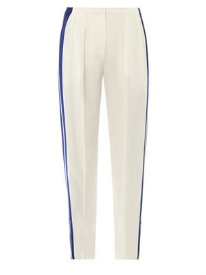 Leaf-crepe high-rise stripe trousers