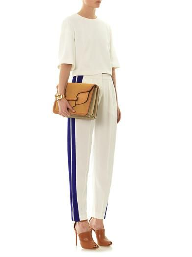 Alexander McQueen Leaf-crepe high-rise stripe trousers