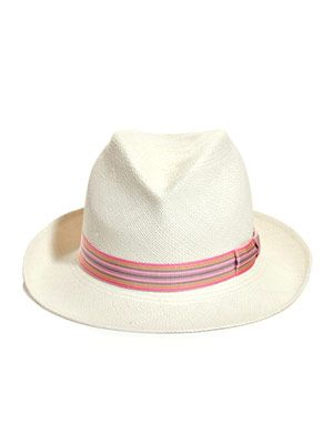 Gervaise stripe ribbon panama hat