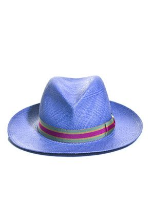 Safari stripe ribbon wider brim hat