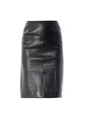 Kick back leather skirt