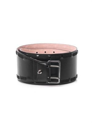 Woven stitch leather belt