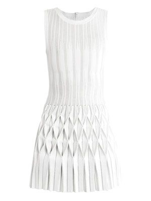 Origami pleated-skirt dress