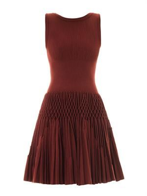 Plissé abeille wool dress