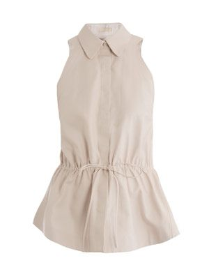 Tie-waist sleeveless shirt