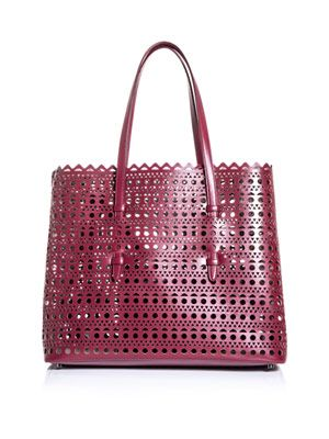 Laser-cut leather bag