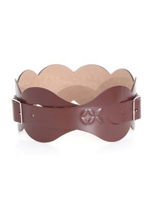Petal embossed leather belt