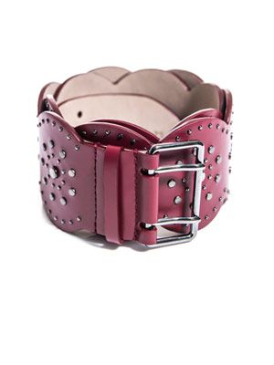 Scallop edge studded belt