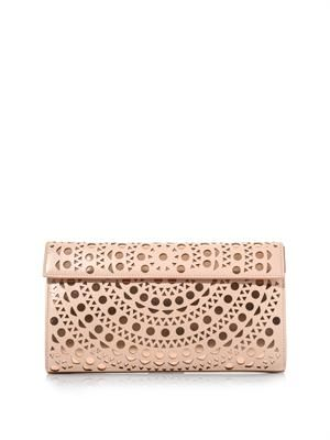 Laser-cut leather clutch