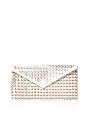 Laser-cut flower leather clutch
