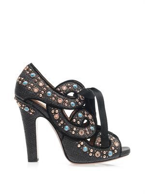 Raffia and stud sandals