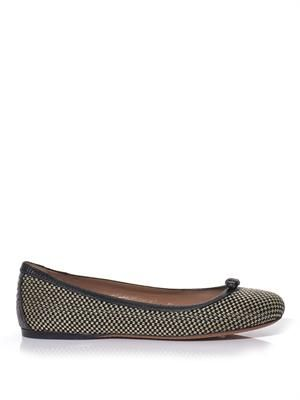 Raffia and leather ballerina flats