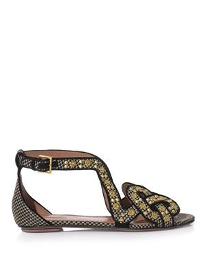 Raffia and gold stud sandals