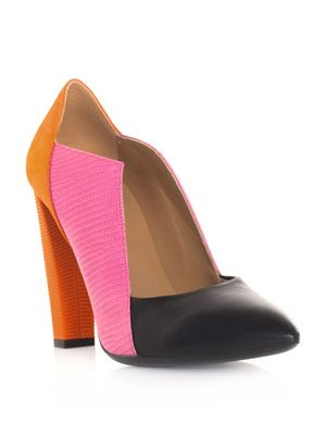 Tri-colour cut-out shoes