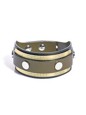 Gold plate leather cuff